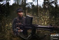 "Mannerheim Cross Knight Antti Väinö Sokka posing with his Lahti anti-tank rifle (""Elephant Gun"") near Petroskoi Military Units, Military Art, Mr Knight, Elephant Gun, Anti Tank Rifle, Ww2 Weapons, Ww2 History, Man Of War, German Army"