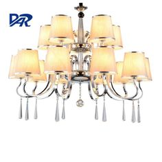Cheap cristal lamp, Buy Quality modern led chandelier directly from China led chandelier Suppliers: Fabric Lampshade Crystal Modern Led Chandelier Light Fixtures Home Lighting Chandeliers Lustre Cristal Lamp Lamparas De Techo
