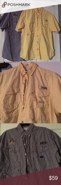 Columbia PFG shirt bundle! Like new!  Worn only a few times!  ECU pirate embroidered purple and white check and pale yellow.  Will consider separating if requested. Columbia Shirts Casual Button Down Shirts