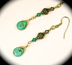 Natural turquoise & sterling silver teardrop earrings.