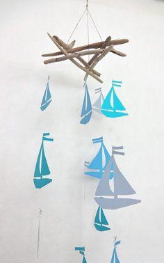 Nautical Nursery Mobile Handmade Nursery Sail by SunsetDriftwood, $45.00