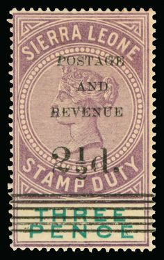 Philasearch.com - Sierra Leone, Scott 48-51, SG 55-58 1897 2½d on 3d dull purple and green Q Victoria Stamp Duty surcharged SG Types 8, 10-12, cplt (4), rare as only 148 were printed of Type 12, undercatalogued, OG, VLH, F-VF  Anbieter Colonial Stamp Company  Saalauktion Ausruf: 795.00 US$ (ca. 630 EUR)