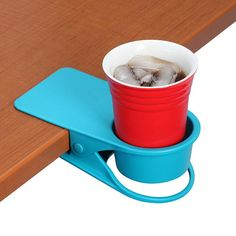 Drinklip Portable Cup Holder. Drink Clip to keep coffee off your desk and spilling on your computer!  #Mokka #Mokk-a #Coffee