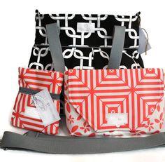 Diaper Bag Gift Set - Black Gotcha Diaper Bag - Coral Floral Diaper Clutch - Messenger Strap