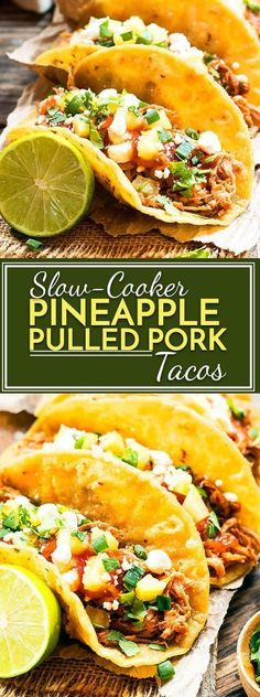Slow cooker pineapple pulled pork recipe that can be served in tacos or on a bun for a burger. As a bonus, it is served with a delicious, homemade pineapple BBQ sauce!