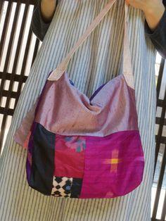 Y様ご予約品☆銘仙と紬で楽しいパッチ♪斜め掛けバッグの画像4枚目