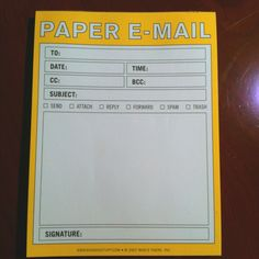 "Funny ""post it"" notepad.  Old school meet new school :)"