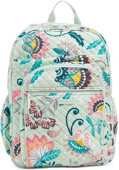 Image of Iconic XL Campus Backpack in Mint Flowers Backpack Online, Backpack Bags, Fashion Backpack, Mint Flowers, School Backpacks, Nice Backpacks, Vera Bradley Backpack, Shoulder Pads, Purses And Handbags