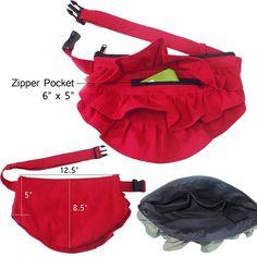 ruffled fanny purse zip pockets