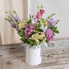 Country Jug #flowers #spring #home • 3 x Mixed Lisianthus • 3 x Lilac Freesia • 2 x Lilac Spray Rose • 2 x Rosemary • 2 x Mini Pitto • 3 x Tanacetum • 1 x Lace-effect Jug