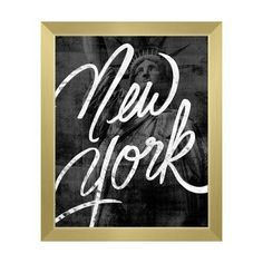 "Click Wall Art Urban New York Framed Graphic Art on Canvas Size: 22.5"" H x 18.5"" W x 1"" D, Frame Color: Gold"