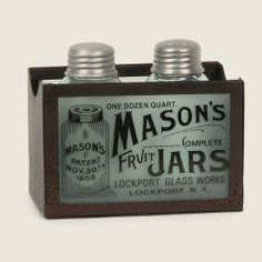Mason's Salt and Pepper Shakers with Caddy Crackle Black/Red .