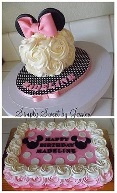 Minnie Mouse pink sheet cake with matching smash cake by Simply Sweet by Jessica Photo Gallery Anniversaire Theme Minnie Mouse, Minnie Mouse Theme, Girl Shower Cake, Shower Cakes, Baby Shower, Mickey Birthday, Birthday Fun, Birthday Ideas, Mickey Party