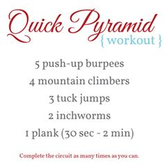 Quick Pyramid Workout Running Motivation, Fitness Motivation, Pyramid Workout, Health And Wellness, Health Fitness, Short Workouts, How To Get Abs, Different Exercises, Live Happy