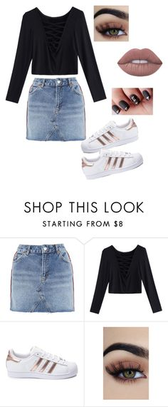 """""""No title"""" by coookkkiiieee ❤ liked on Polyvore featuring Topshop and adidas"""