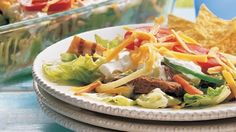 Fajita Layered Salad - Party of eight?  Serve a make-ahead salad everyone can dig into. - Betty Crocker.com
