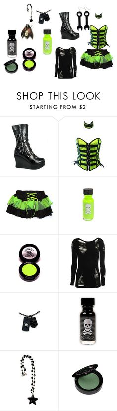 """""""nightclub green"""" by red-octopus ❤ liked on Polyvore featuring E.vil, BKE, Sourpuss, Too Faced Cosmetics, tutu skirts, green, boots, corset, goth and star"""