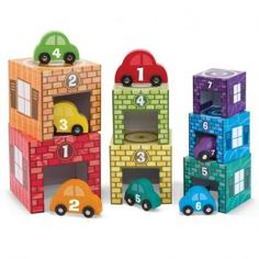 This garage toy set from Melissa & Doug combines the stacking blocks, nesting toys, play cubes, car pretend playset, and learning materials for tots at one box! Toddler Toys, Baby Toys, Kids Toys, Children's Toys, Toddler Puzzles, Toddler Stuff, Girl Toddler, Toddler Gifts, Wooden Car
