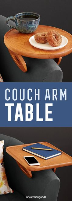 $135 - Put your feet up and keep drinks, snacks, and remote controls handy with this clever, sofa arm-gripping table.