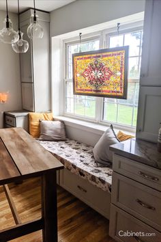 The perfect place for jotting down family recipes or cozying up with a good book, a kitchen window seat (especially in our Oyster finish) never goes out of style. Discount Cabinets, Window Seat Kitchen, Grey Cabinets, Subway Tile, Sweet Home, House Design, Flooring, Wood, Albums
