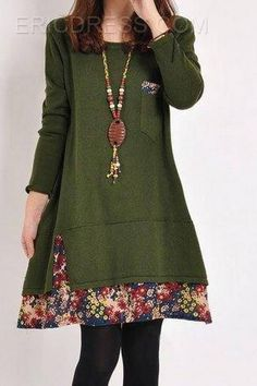 Ericdress Floral Plus Size Dresse Casual Dresses