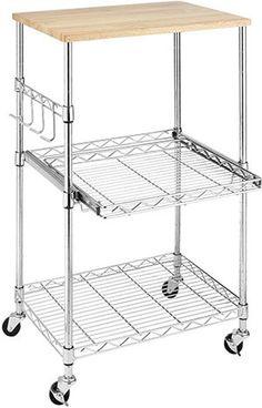 Whitmor Supreme Wood & Chrome Kitchen Cart