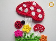Applique Flower Patterns – Häkelarbeit Applique Samples Blumenmuster – My Strictmuster Art Au Crochet, Crochet Diy, Crochet Books, Crochet Motif, Crochet Crafts, Crochet Stitches, Crochet Projects, Crochet Appliques, Flower Applique