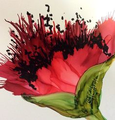 Poppy Red by Donna PierceClark ALCOHOL INK ~ 5 inches x 5 inches