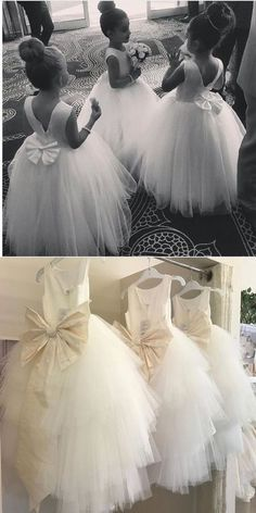 Cute Satin Flower Girl Dresses with Bow, Simple Flower Girl Dresses · Dressmeet · Online Store Powered by Storenvy Simple Flower Girl Dresses, Tulle Flower Girl, Princess Flower Girl Dresses, Tulle Flowers, Wedding Flower Girl Dresses, Simple Flowers, Bridesmaid Flowers, Bridesmaid Dresses, Peach Flower Girl Dress