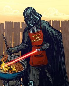 Darth Vader BBQ by Kim Herbst. Available in her Etsy Store. ( link :: http://www.etsy.com/listing/55583351/darth-vader-bbq-print )