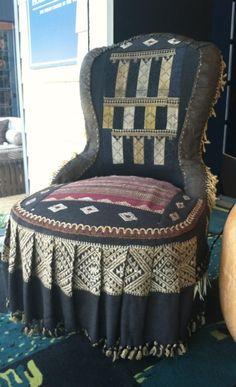 Amazing! Antique textiles cover designer Muriel Brandolini's chic chair in Harbinger's window at Legends of La Cienega event in LA