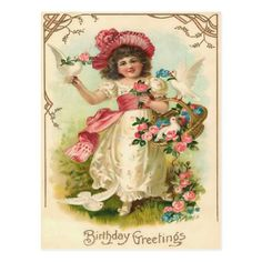 Birthday Postcards, Vintage Birthday Cards, Happy Birthday Cards, Birthday Greetings, Vintage Postcards, Vintage Images, Decoupage, Doll House Wallpaper, Retro