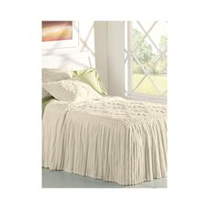 Amazon.com - LinenSource Home Drop Ruffle Chenille Bedspread - Queen Ivory -
