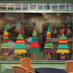 Waterproof PVC Cartoon Christmas Tree Display Window Mural Art Wall Stickers for sale online Christmas Tree Design, Cartoon Christmas Tree, Christmas Tree Star, Wooden Christmas Decorations, Christmas Tree Pattern, Christmas Tree With Gifts, Colorful Christmas Tree, Xmas Tree, Christmas Art