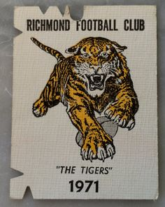 Richmond Football Club member's ticket for 1971 Richmond Afl, Richmond Football Club, Collingwood Football Club, Club Poster, Tigers, Cards, Yellow, Bobs, Man Cave