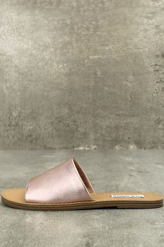 Steve Madden Grace Rose Gold Leather Slide Sandals