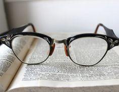 Vintage Black 1950s Style Cat Eye Glasses Frames  by HootsHouse, $50.00