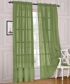 Green Voile Pocket Curtain Panel - Set of Two | Daily deals for moms, babies and kids