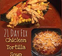 21 Day Fix Crockpot Tortilla Soup- Enchilada Sauce Recipe, too! SO delicious! http://www.mylifeonawhim.com