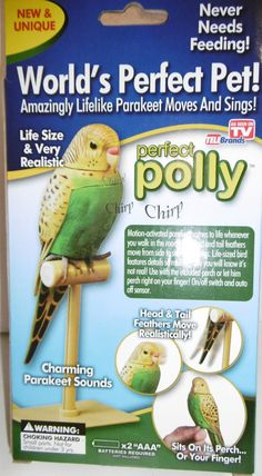 WORLD'S PERFECT PET LIFELIKE PARAKEET MOVES & SINGS POLLY SITS PERCH MOTION NIB #TeleBrands