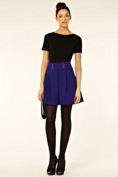 colbalt double face button through skirt