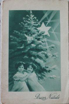s.d. (1900) Bambine con albero Buon Natale  Lucchi Milano Fiori Chiari 8 cartolina nuova