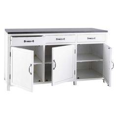 Küchenunterschrank aus Recyclingholz weiß, B 160 cm