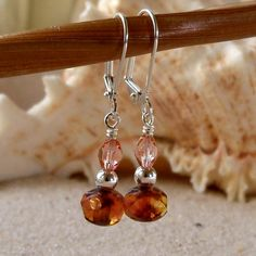 Milky Peach Rose Pink Silver Earrings by mompotter on Etsy