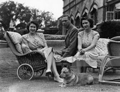 George VI (1895 - 1952), king of Great Britain, with his two daughters, Princess Elizabeth, left, and Princess Margaret Rose (1930 - 2002), at the Royal Lodge at Windsor.