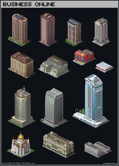 Isometric Buildings by iSohei on DeviantArt Isometric Shapes, Isometric Drawing, Isometric Design, 2d Game Art, 2d Art, Visual Map, Minecraft City, Modelos 3d, Building Art