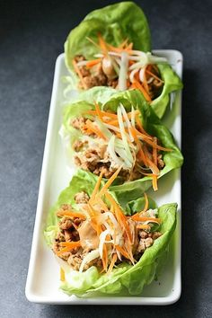 Lettuce Wraps with Hoisin Sauce  -I personally LOVE these. The Peanut Hoison Sauce is fantastic! Have made it with chicken AND also with beef. DELISH!