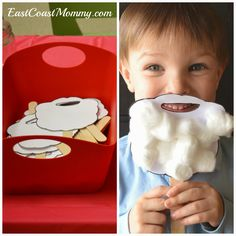 """Everything you need to throw a """"Letter Writing to Santa Party""""... including a free template for this Santa beard."""