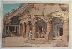 "Hiroshi Yoshida ""Cave Temple in Ajanta"""