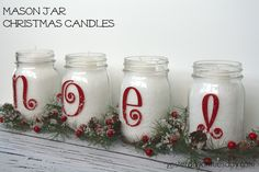 Simple Mason Jar Christmas Candles from http://yesterdayontuesday.com